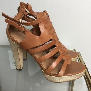 Guess Leather Strappy Heels brown 7.5